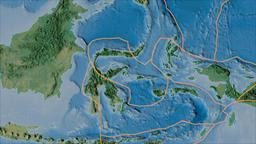 Molucca Sea tectonic plate. Topography. Borders first. Van der Grinten Animation