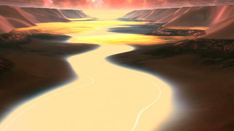 Flight over Alien River Animation
