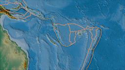 New Hebrides tectonic plate. Relief. Borders first. Van der Grinten projection Animation