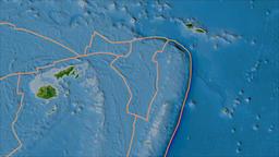 Niuafoou tectonic plate. Satellite imagery B. Borders first. Van der Grinten Animation