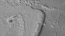 Niuafoou tectonic plate. Elevation grayscale. Borders first. Van der Grinten Animation