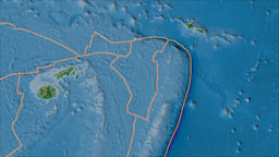 Niuafoou tectonic plate. Topography. Borders first. Van der Grinten projection Animation