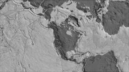 North American tectonic plate. Bilevel elevation. Borders first. Van der Grinten Animation