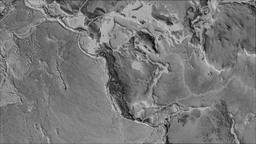 North American tectonic plate. Elevation grayscale. Borders first. Van der Animation