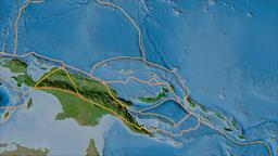 North Bismarck tectonic plate. Satellite imagery B. Borders first. Van der Animation