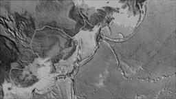 Okhotsk tectonic plate. Elevation grayscale. Borders first. Van der Grinten Animation