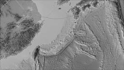 Okinawa tectonic plate. Elevation grayscale. Borders first. Van der Grinten Animation