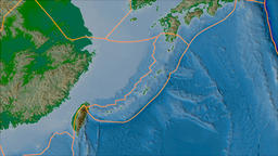 Okinawa tectonic plate. Physical. Borders first. Van der Grinten projection Animation