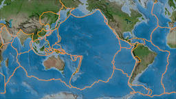 Pacific tectonic plate. Satellite imagery A. Borders first. Van der Grinten Animation