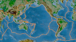 Pacific tectonic plate. Physical. Borders first. Van der Grinten projection Animation
