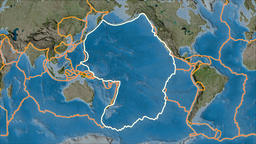 Pacific tectonic plate. Satellite imagery B. Stroke first. Van der Grinten Animation