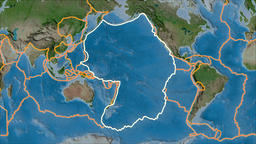 Pacific tectonic plate. Satellite imagery A. Stroke first. Van der Grinten Animation