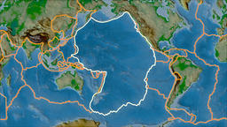 Pacific tectonic plate. Physical. Stroke first. Van der Grinten projection Animation