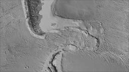 Scotia tectonic plate. Elevation grayscale. Borders first. Van der Grinten Animation