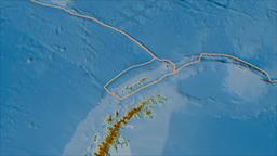 Shetland tectonic plate. Relief. Borders first. Van der Grinten projection Animation