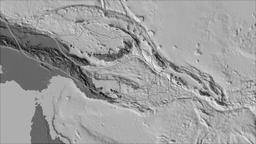 Solomon Sea tectonic plate. Bilevel elevation. Borders first. Van der Grinten Animation