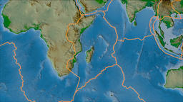 Somalian tectonic plate. Physical. Borders first. Van der Grinten projection Animation