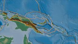 South Bismarck tectonic plate. Relief. Borders first. Van der Grinten projection Animation