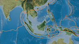 Sunda tectonic plate. Topography. Borders first. Van der Grinten projection Animation