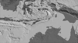 Timor tectonic plate. Bilevel elevation. Borders first. Van der Grinten Animation