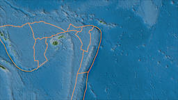 Tonga tectonic plate. Topography. Borders first. Van der Grinten projection Animation