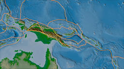 Woodlark tectonic plate. Physical. Borders first. Van der Grinten projection Animation