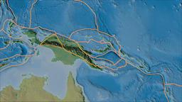 Woodlark tectonic plate. Topography. Borders first. Van der Grinten projection Animation