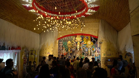 Night footage of Durga Puja Pandal, Kolkata, West Bengal, India GIF