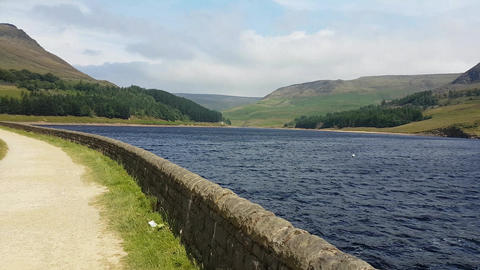 Slow Pan of Dovestone Reservoir and Path Footage