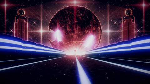 3D Blue Red Sci-Fi Planet Eye Tunnel VJ Loop Background CG動画素材