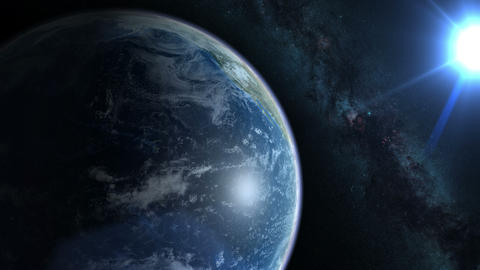 Earth from space. Earth rotates nicely with the stars and the sun. 4k video in a Animation