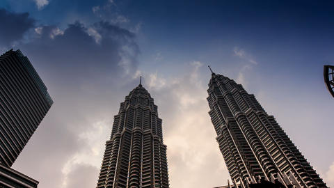 Clouds Motion over Petronas Twin Towers Taken from Downwards Footage