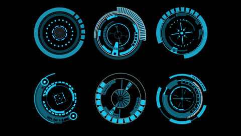 Multiple collection of Sci fi hi-tech style design elements HUD After Effects Template