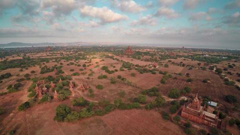 Flying over Temples in Bagan at sunrise, Myanmar Footage