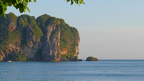 Landscape on the Ao Nang beach at sunset Footage