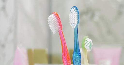 Childs and adults toothbrushes in the cup Footage