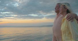 Loving senior couple enjoying walk at the seaside Footage