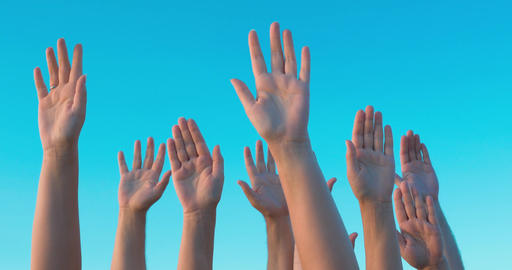 People Hands Up in the Air Footage