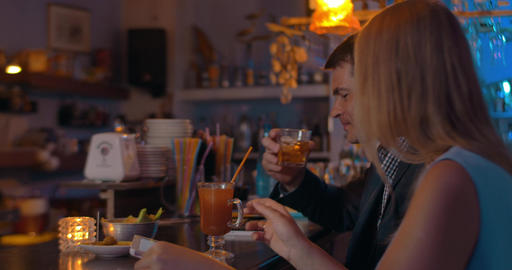Couple with Tablet in the Bar Footage