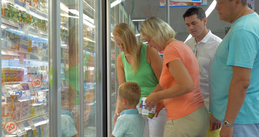 Big family shopping in the supermarket Footage