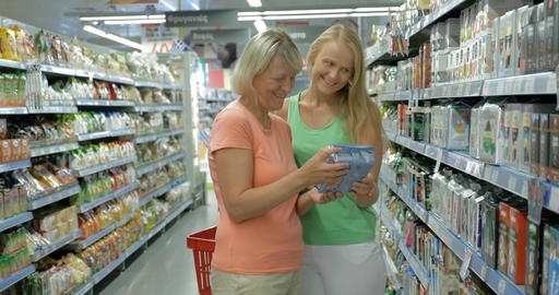 Adult Mother and Daughter in the Food Shop Footage