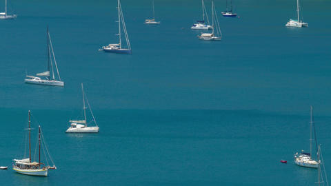 Yachts are anchored in the bay of the sea Footage