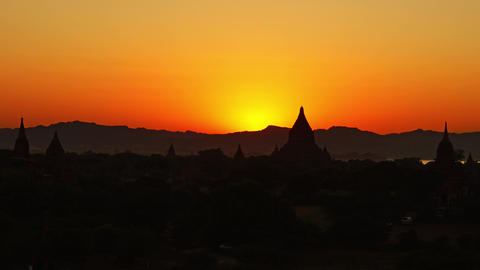 Silhouette of Temples in Bagan at sunset, Myanmar Footage