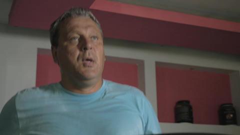 Man having cardio training on treadmill Footage