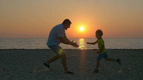 Happy time with beloved dad Footage