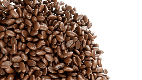 Roasted Coffee Beans Falling And Mixing With Alpha stock footage