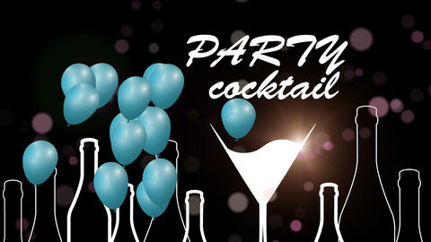 Cocktail icon color animation loop.Cocktail party balloons.Alcohol background GIF