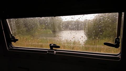 Pouring rain seen through a motorhome caravan window #1 Live Action
