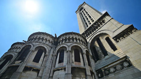 World famous Sacre Coeur cathedral under a shining sun Footage