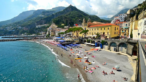Panoramic view of world famous Amalfi shore Live Action